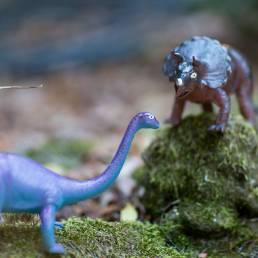 dinosaur toys in yard
